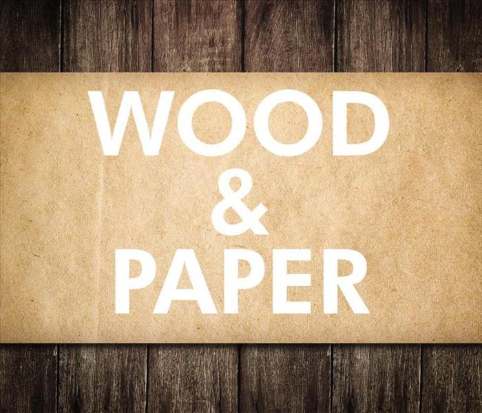 Craft paper with words on the top that say WOOD AND PAPER