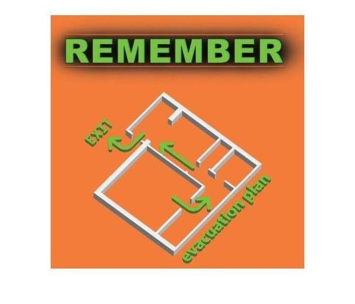 Evacuation plan of a building in case of fire incident. Text on image that says REMEMBER